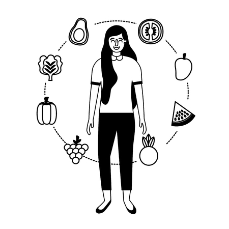 woman with fruits and vegetable healthy food vector illustration Stock Illustratie