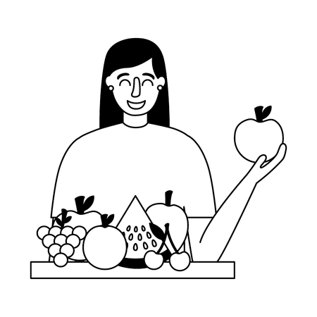 woman holding apple and fruits healthy food vector illustration Banque d'images - 114637196