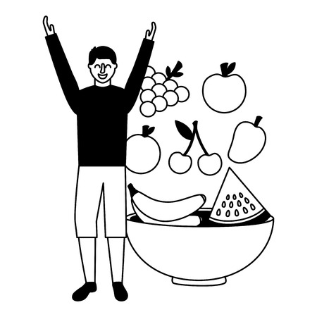 man with fruits in bowl healthy food vector illustration