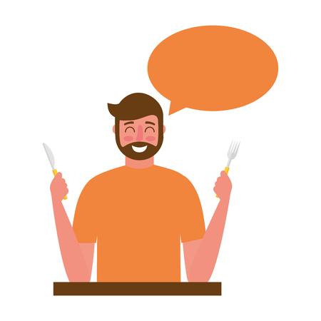 bearded man holding fork and knife speech bubble vector illustration