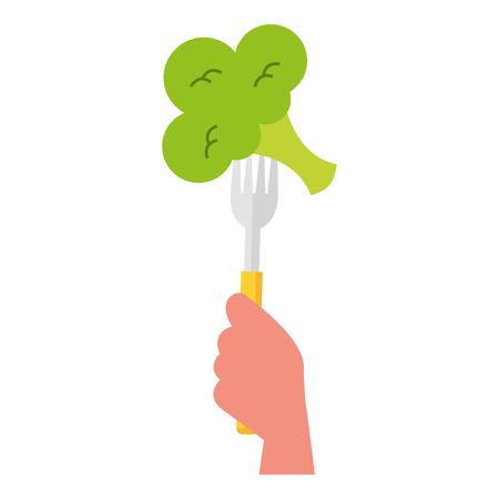 tenedor de mano con brócoli ilustración vectorial Ilustración de vector