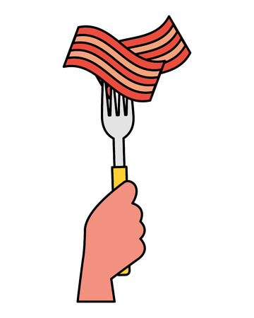 hand holding fork with bacon vector illustration Ilustrace
