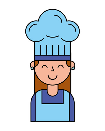 chef girl portrait with hat vector illustration