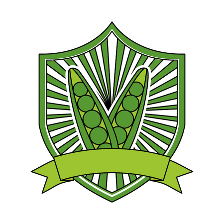 peas fresh healthy food emblem vector illustration