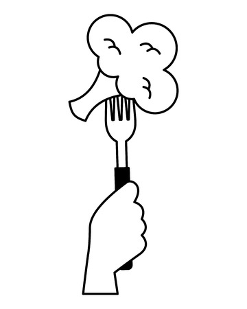 hand holding fork with broccoli vector illustration 일러스트