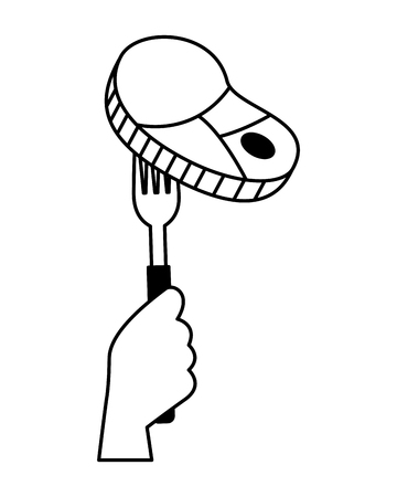 hand holding fork with meat vector illustration