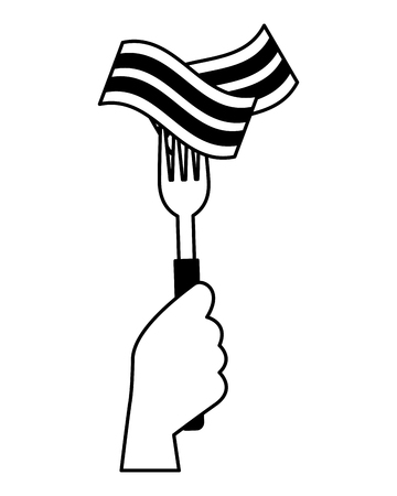 hand holding fork with bacon vector illustration Ilustracja