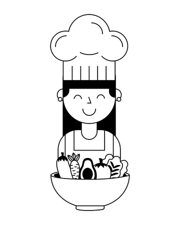 girl with vegetables in bowl healthy food vector illustration