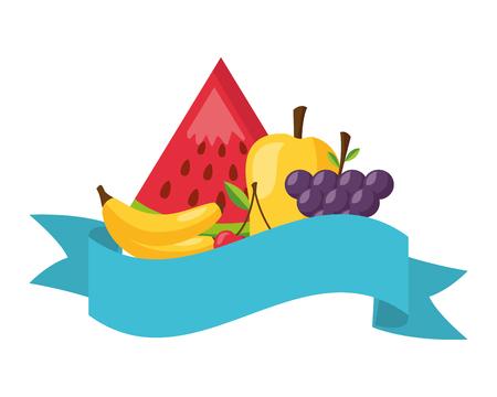 fruits fresh healthy food banner vector illustration Illustration