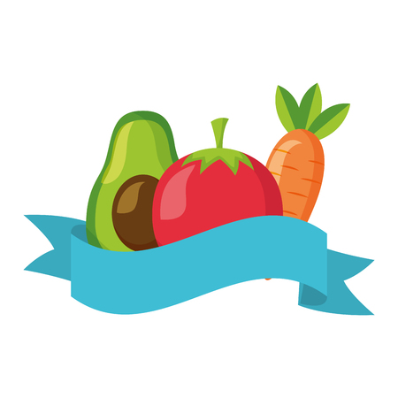 avocado tomato carrot healthy food ribbon vector illustration Illustration