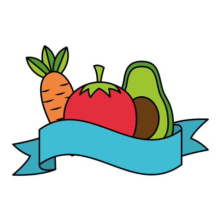 avocado tomato carrot healthy food ribbon vector illustration Stock Illustratie