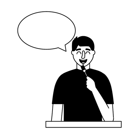 man holding fork cutlery speech bubble vector illustration