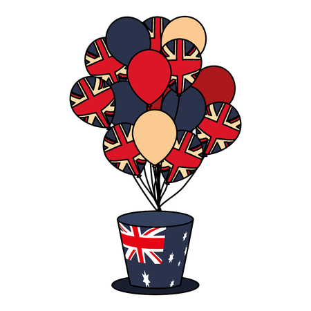 australia flag top hat and balloons vector illustration