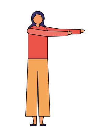 woman stretching activity on white background vector illustration