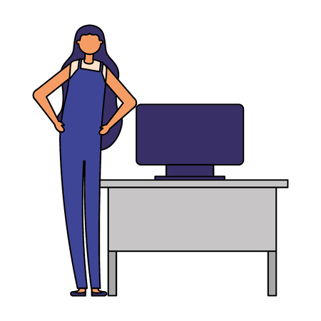 woman active breaks in the office vector illustration Çizim