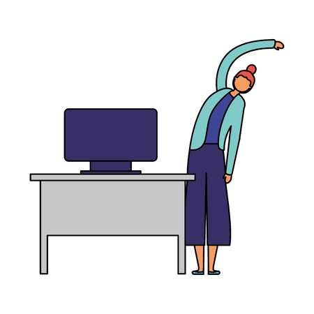 woman active breaks in the office vector illustration Illustration