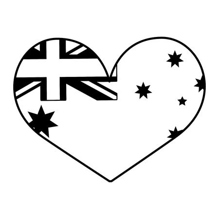 australia flag shaped heart on white background vector illustration
