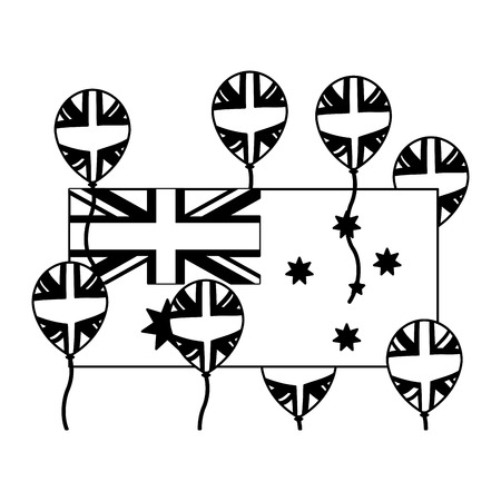 australia flag and balloons decoration vector illustration Çizim