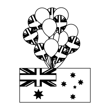 australia flag and balloons decoration vector illustration 일러스트
