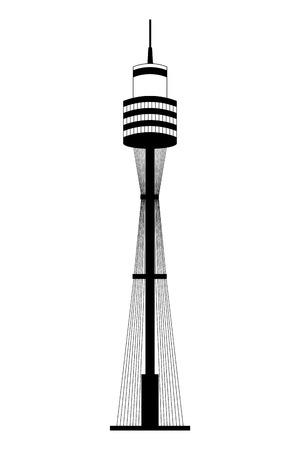 Sydney Tower Architektur Wahrzeichen Australien Vector Illustration Vektorgrafik