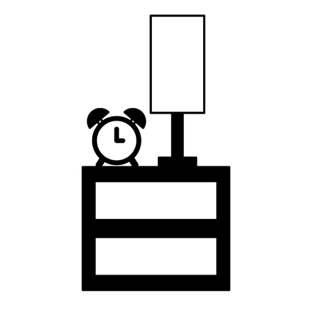 bedside clock alarm and lamp vector illustration