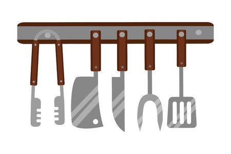 kitchen utensils stainless hanging collection vector illustration Illustration