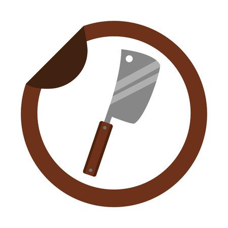 meat cleaver utensil kitchen sticker vector illustration