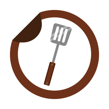 spatula utensil kitchen sticker on white background vector illustration 向量圖像