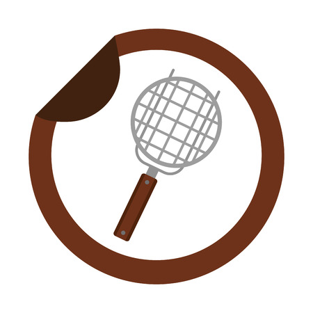 grill utensil kitchen sticker on white background vector illustration Stock Illustratie