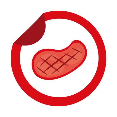 meat steak sticker on white background vector illustration Illustration