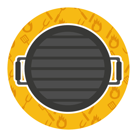 Grillgrill mit Griffen auf gelber Hintergrundvektorillustration
