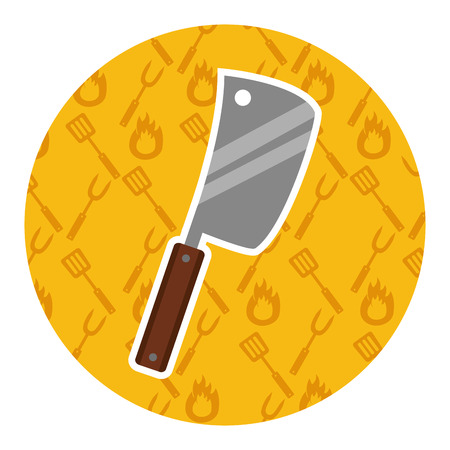 meat cleaver on yellow background vector illustration