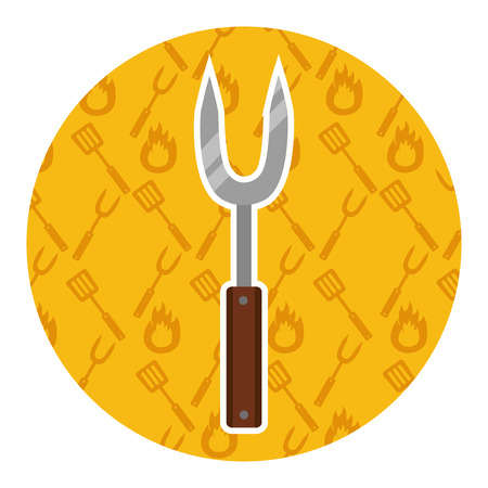 fork utensil kitchen on yellow background vector illustration