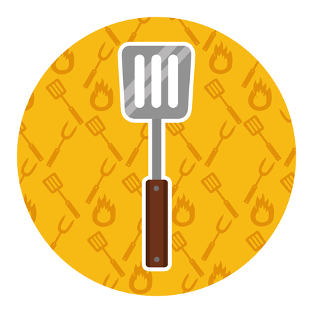 spatula utensil kitchen on yellow background vector illustration Standard-Bild - 126463415