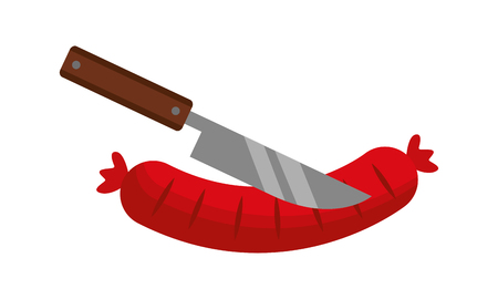 knife cutting a sausage on white background vector illustration Çizim