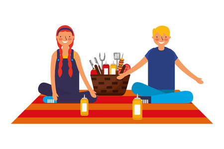 couple sitting picnic basket with barbecue utensils vector illustration Stockfoto - 126463421