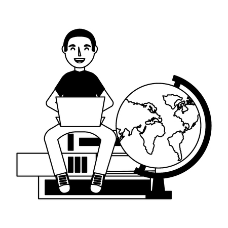 man with laptop books and globe education school vector illustration
