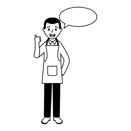 man wearing apron chef specch bubble vector illustration