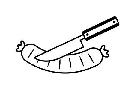 knife cutting a sausage on white background vector illustration Illustration