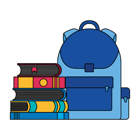 education school backpack and books vector illustration Иллюстрация
