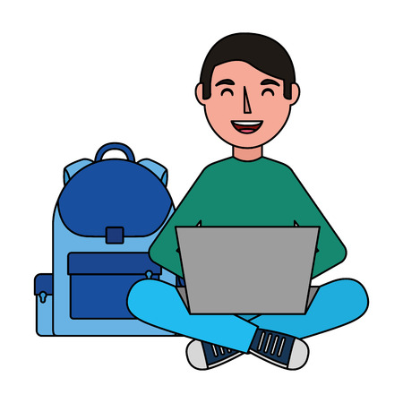man with laptop and backpack school vector illustration
