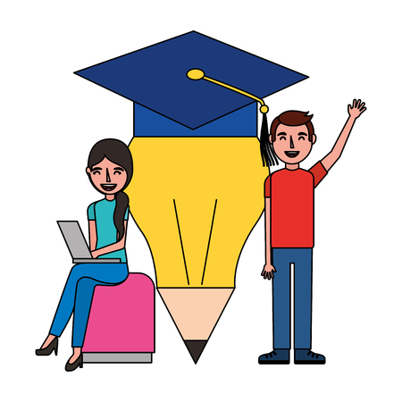 man and woman with laptop pencil graduation hat vector illustration