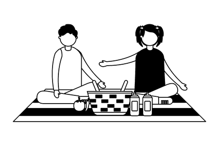 couple sitting on blanket with picnic basket vector illustration