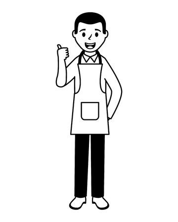 Hombre con delantal de cocina chef ilustración vectorial