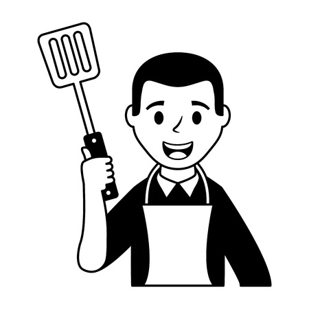 man chef with apron and spatula vector illustration Illustration