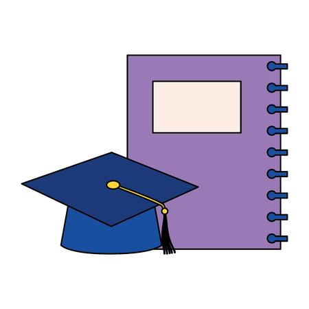 education school notebook and gradution hat vector illustration