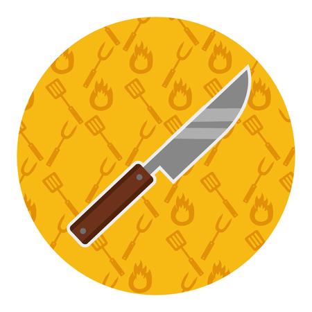 knife utensil kitchen on yellow background vector illustration