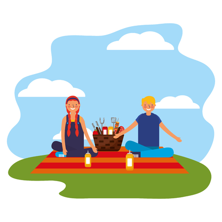 couple sitting picnic basket with barbecue utensils vector illustration