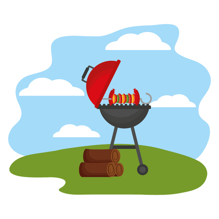 grill barbecue roasted skewer and wooden vector illustration