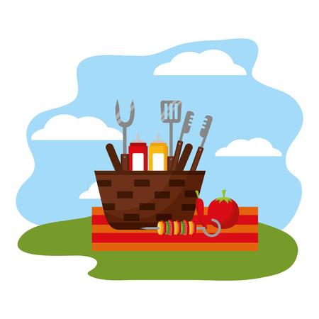 Weidenkorb Grillsaucen Zange Vektor-Illustration
